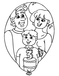 birthday coloring pages boy birthday coloring page a three year old with his cake