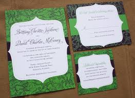 green wedding invitations apple green eggplant purple floral pattern and modern frame
