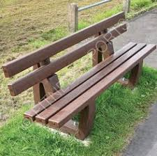 Park Bench Made From Recycled Plastic Tubular And Box Welded Steel Outdoor Public Seating Bench Solid