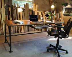Steel Pipe Desk by Industrial Desk With Oak Top And Steel Pipe Legs By Urbanwoodgoods