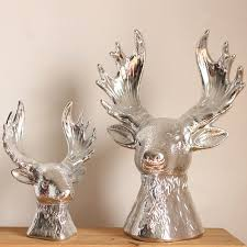 unique bright silver deer size ceramic ornaments crafts home
