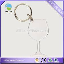 wine glass keychain custom transparent clear wine glass shape blank acrylic plastic