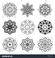 set mandalas collection stylized snowflakes stock vector