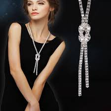 long necklace accessories images 2018 new simulated necklaces for women silver color chain long jpg