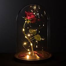 beauty and the beast light up rose amazon com life sized 13 enchanted rose that lasts forever in