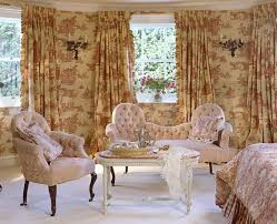 Pale Pink Armchair Image Red White Toile De Jouy Wallpaper And Curtains In Bedroom