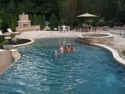 18x46 custom gunite pool spa beach entry negative edge raised