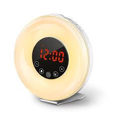 clock radio with night light coulax wake up light sunrise simulation alarm clock with 6 nature