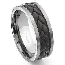 titanium wedding rings titanium brown braided leather wedding band ring