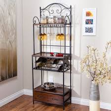 Bakers Rack Chrome Furniture Simple Metal Bakers Rack With Understated Look Fits