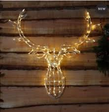 Christmas Reindeer Head Wall Decoration by New Reindeer Stag Head 80 Led U0027s Light Up Warm White Christmas Wall