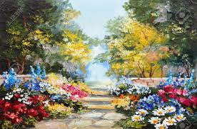 oil painting landscape colorful summer forest beautiful flowers