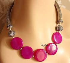 beaded necklace photos images Dark pink ethnic style gemstone beaded necklace online in india jpg