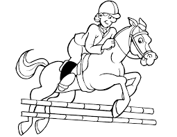 jockey jumping horse coloring pages kids sport coloring