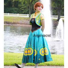 Anna Costume Anna Costume Frozen Fever Spring Women Cosplay Sunflower Dress And