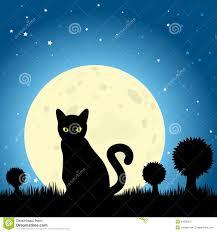 halloween black cat silhouette against a moon night sky eps10 v