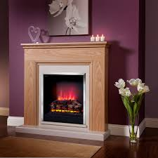 natural oak electric fireplace suite