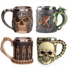 medieval renaissance 3d skull tankard knight coffee mug cup my