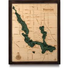 Torch Lake Michigan Map by Walloon Lake Wood Map 3d Nautical Topographic Chart Framed Art