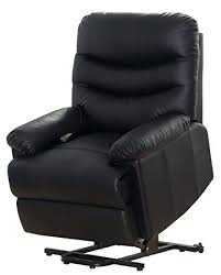 amazon com merax black pu leather power recliner and lift chair