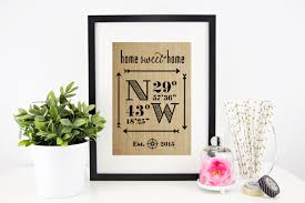home decor family signs latitude longitude sign house warming gift bridal shower