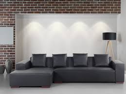Low Height Sofa Modern Sectional Sofa Black Leather Lungo R