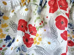 Mexican Kitchen Curtains by Linen Curtain Panel Natural Linen Summer Meadow Flowers Floral