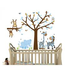 Nursery Stickers Safari Jungle Wall Decals With Zebra Decor For Kids Nursery