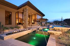 surprising luxury hillside homes design with natural stone column