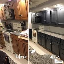 painted black cabinets in kitchen pictures before and after of kitchen cabinets being painted gray