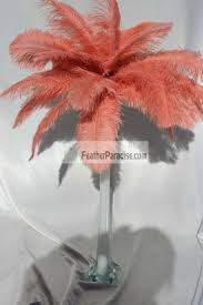 coral ostrich feather centerpieces feather plume palm tree 6 sets