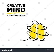 vector illustration yellow color brain black stock vector