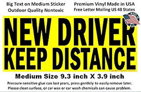 new driver keep distance bumper sticker sign for student