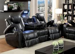 power reclining sofa cm6291 in dark gray leatherette
