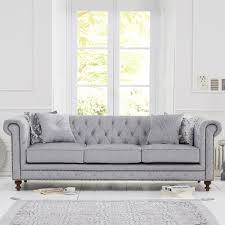 Montrose Studded  Buttoned Grey Fabric  Seater Chesterfield Sofa - Fabric chesterfield sofas