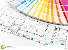 color selection paint samples with house floor plan stock photo