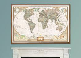 national geographic world executive map framed home decor