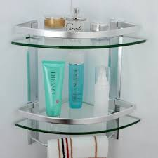 Bathroom Glass Shelves With Rail Bathroom 2 Tier Corner Glass Shelf With Wide Rail And Towel Bar