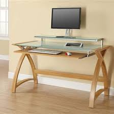 Glass Topped Computer Desk Cohen Curve Computer Desk Large In White Glass Top And Oak
