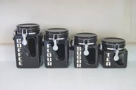 kitchen canister sets black ceramic kitchen canister set black coffee tea by bighornsigns