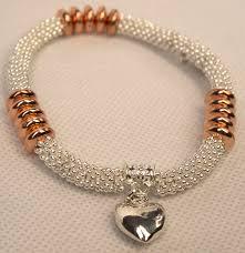 rose gold bead bracelet images Silver stretch bracelet with rose gold beads and silver heart jpg