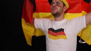 German Flag Shirt Enthusiastic German Supporter Man Acclaiming Goal Joy Waving Flag