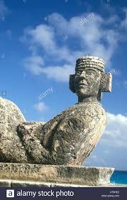 God Statue Mexico Cancun Yucatan Quintana Roo Chac Mool Rain God Statue Stock