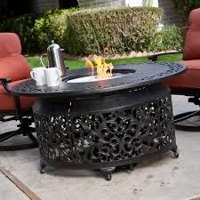 Round Patio Dining Set Seats 6 - belham living san miguel cast aluminum sofa fire pit chat set