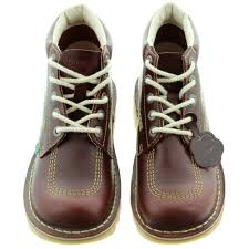 kickers leather kick hi mens lace ankle boots in burgundy in burgundy