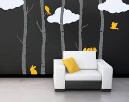 tree wall decal for interior decoration wedgelog design image of birch tree wall decals