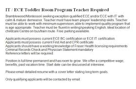 cover letter for daycare teacher bramblewood montessori daycare centre opening hours 201 2255
