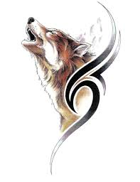 colorful howling wolf and a tribal sign tattoo design
