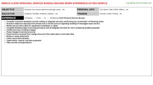 service bureau clerk personal service bureau resume sle