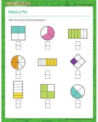 make a pie free printable math worksheet for 4th grade hs
